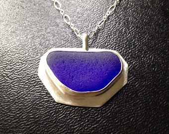Cobalt English Sea Glass Bezel - Authentic Sea Glass Pendant Jewelry