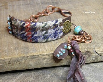 "Bracelet bohemian-vintage ""Hype"" Cuff copper and tweed- copper link- silk and pearl- turquoise- Scottish"
