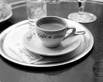 Cafe de Flore Espresso Paris France Fine Art Photography  Home Decor Black and White Photography