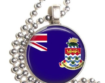 Cayman Islands Flag Art Pendant, Earrings and/or Keychain, Round Photo Silver and Resin Charm Jewelry, Flag Earrings, Flag Key Fob