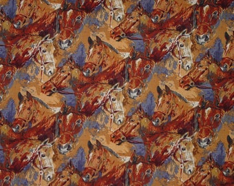Alexander Henry Fabric Equestrian Collection Mini Purebreds Horse Head Collage Classic Vintage  Rare 1995