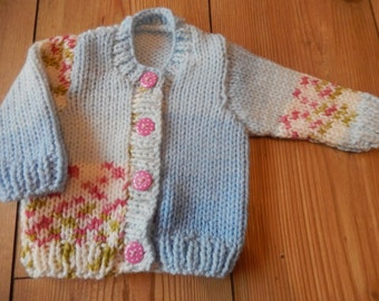 hand knitted baby girl cardigan baby sweater blue mix newborn