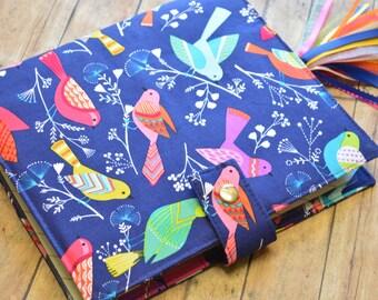 Planner Cover - in Michael Miller Flock Birds fabric -F2