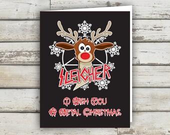 Sleigher, Metal Christmas, Christmas Card, XMAS, XMAS card, Reindeer, funny xmas card, holiday card, funny holiday card