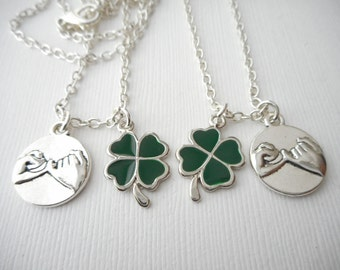 2 Pinky Promise, Four Leaf Clover- Best Friend Necklaces/ Daughters, Sister Gift, little Girl, promise necklace, Pinky promise jewelry