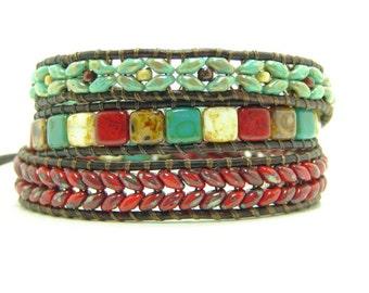 Herringbone Superduo Beaded Leather Wrap Bracelet, Red Superduo Beaded Wrap Bracelet, Tile Triple Wrap Bracelet, Southwest Style Wrap