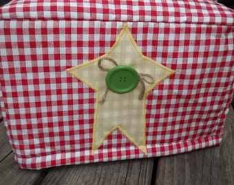 Primitive Star Toaster Cover Red White Yellow Green Quilted Lined
