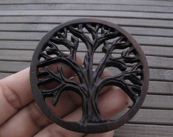 Excellent Detail Handmade Carved Tree Of Life Pendant ,sono wood carving, Jewelry making Supplies B6075-w