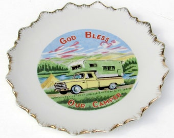 God Bless Our Camper - Mid Century Wall Hanging - Decorative Plate - Vintage Home Decor