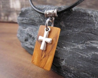 Wood Cross Pendant Necklace, Small Cross Charm Necklace, Olive Wood Pendant with Leather Cord, Christian Jewelry