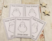 Set of 5 Colouring in Happy Christmas Card, Children's Colour in Cards, Robin Cards