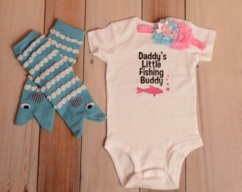 "Daddy's Little Fishing Buddy Onesie Set - Fish Leg Warmers - Fishing Onesie - ""I'm a Perfect Catch"" Headband"