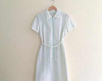 Vintage White and Green Mod Striped Shift Dress / Shirt Dress / Swiss Dot Scooter Dress / Retro / Nautical / Medium  - 1960s
