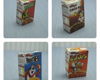 Miniature Food Breakfast Cereal box Supermarket Groceries 1/6 Scale Dollhouse Miniature playscale Dollhouse Miniature