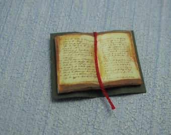 Gaël  Miniature   Vintage journal  Book open decorative shabby chic  book  Dollhouse miniature 1/12 playscale 1/6 handmade
