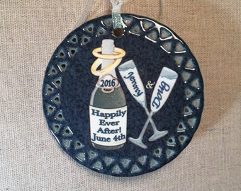 Newlywed Gift, Keepsake Ornament, Champagne Marriage Celebration Ornament