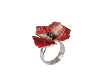 Red sterling silver poppy ring - big flower