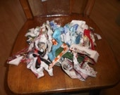 Bag full of FABRIC SELVEDGES  Sewing Quilting Crafts 5.5 oz  color variety, fuzzy edges, upholstery.