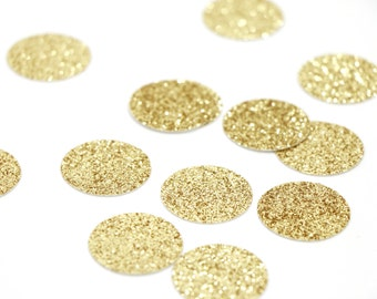 "Gold Glitter Circle Confetti - 1"" Confetti. Wedding. Bachelorette Party. Bridal Shower. Baby Shower. Engagement. First Birthday."