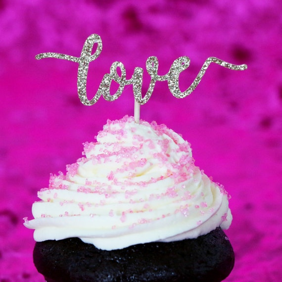 Love Cupcake Toppers - Gold Glitter - Wedding Cupcakes. Bachelorette Party. Bridal Shower. Engagement. Donut Toppers. Anniversary Decor.