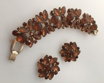 Vintage JULIANA, Bracelet Earrings, Demi Parure  DeLizza Elster Frosted Brown Navette Rhinestones  Topaz Chatons Rhinestone Jewelry