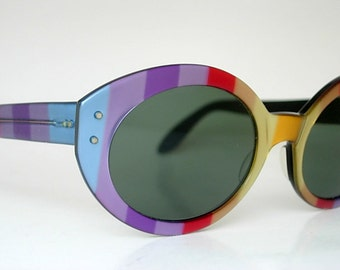 Ray Ban Bewitching Bausch and Lomb B&L Vintage Ray-Ban Oversized Round Oval Rainbow Multi Color Eyeglass Frames Colorful Retro Larger Fit