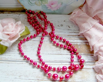 Vintage Cranberry Necklace, Vintage Multi-Strand Necklaces, Necklaces, Wedding Jewelry, Wedding Necklaces, Shabby and Chic