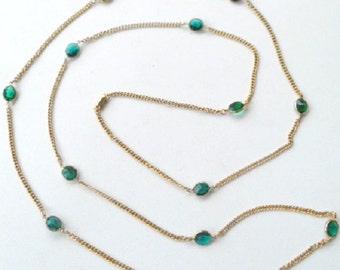 "Vintage Necklace Coro Green Stones Chain 60.5"""