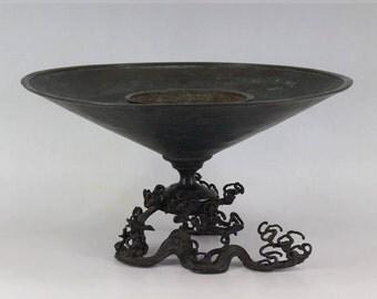 Japanese Fine Art Antique Usubata Bronze Flower Vase Meiji period 19th C.