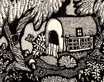 Cottage Art Print, Forest Print, Black And White , Whimsical House, Nature Print, Pen And Ink, Cottage In The Woods by Paula DiLeo_52016