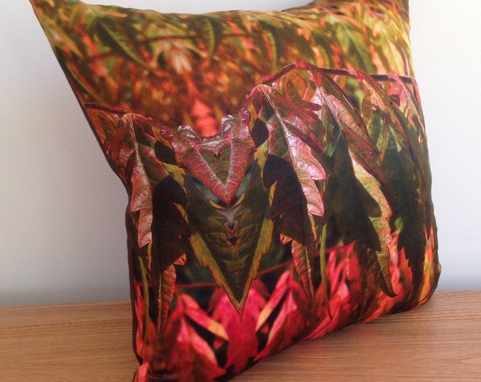 """Featured listing image: SALE! Silk 16"""" pillow / cushion digitally printed with a photographic Autumn leaf design. Modern home accessory bringing nature inside trend"""