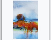 "6""X4"" art ORIGINAL Watercolor Painting by Tatjana Ruzin- Fall Abstract painting colorful painting Gift Ideas Christmas Gift Birthday Gifts"