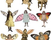 9 Cute FAIRIES/ ANGELS - Vintage and Handmade Style - Winged Girls - INSTANT Printable Digital Collage Sheet