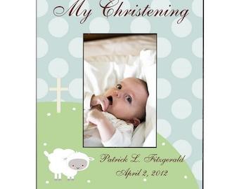 Customized Little Lamb Christening Photo Frame