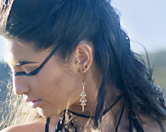 Illumination Earrings  | Triangle Earrings | Rustic Jewelry | Tribal Earrings | Bronze Jewelry | Spiritual Jewelry | Gifts for Her | Catori