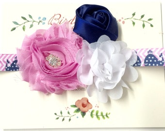 Pink, Navy and White Baby Headband, Baby Headbands, Baby Girl Headband, Infant Headband, Baby Girl Headbands, Infant Headbands