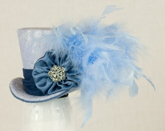 Blue Lace Mini Top Hat,Mad Hatter, Wedding, Burlesque, Alice in Wonderland, Steampunk, Victorian, Nuptial, Bachelorette, Cosplay