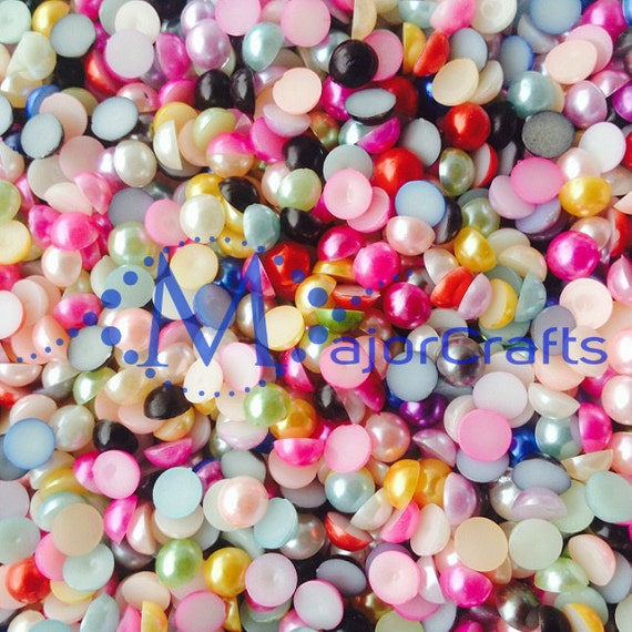 Random Mixed Colours Flat Back Half Round Resin Pearls Craft Embellishment Gems
