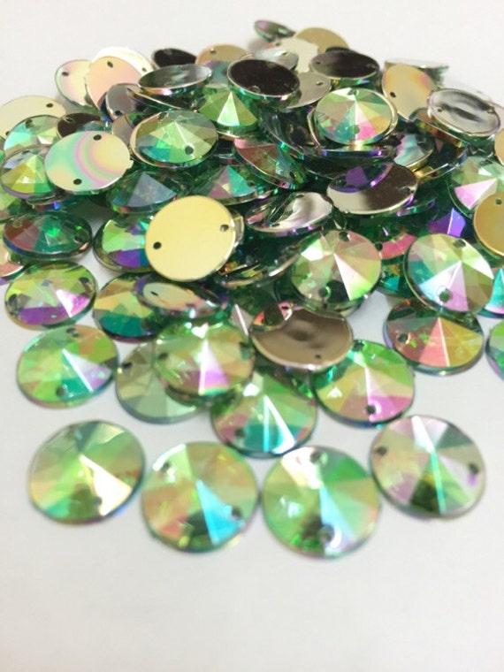Light Green AB Round Flat Back Pointed Sew On Rivoli Acrylic Rhinestones Embellishment Gems C3