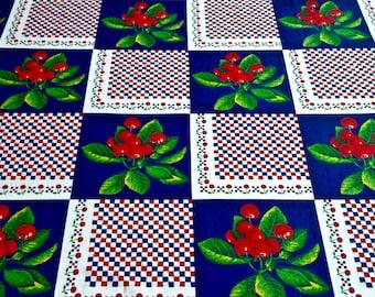 "Vintage Cherries Print Fabric 3 yards long by 44"" wide"