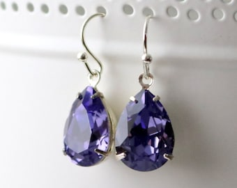 Tanzanite | Swarovski Earrings | Gift For Her | Wedding Jewelry | Bridal Earrings | Bridesmaid Gift | Silver Earrings | Purple earrings