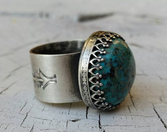 RING Turquoise and Sterling Feather Ring
