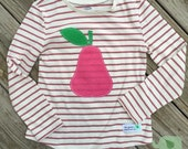 Appliqué Pear on a Long Sleeve Shirt for Little Girls