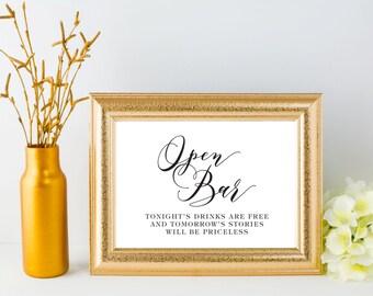 Wedding Signs - Open Bar Wedding Sign - Printable Event Party Signage - Wedding Bar Sign