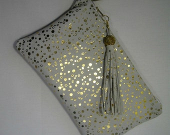 White Leather Metallic Clutch Bag, Gold Dots Leather Purse, Gold and White Evening Bag,  Wedding and Evening Bag with Fringe Tassel