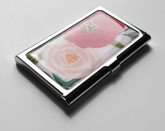 Flower Business Card Case, Business Card Holder, Coworker Gift Flower Credit Card Holder, Personalized Gift, Custom Gift for Her,  E12