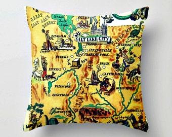 Utah Pillow Cover, Utah Home Pillow,, Utah Pillow, Utah Map Art, Salt Lake City home, Utah Gift, Southwest decor, Southwest Pillow, 18x18