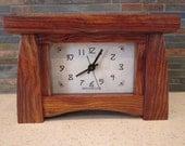 Mantel Clock, Bungalow Clock, Craftsman Clock, Chechen Wood, Clock, Chechen, Mantle Clock, Desk Clock