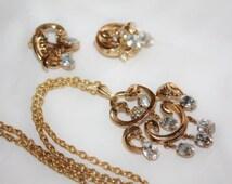 Vintage Crown Trifari Rhinestone Necklace, Grape Dangle Pendant, Alfred Philippe Trifari, 1950s Jewelry