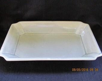 Vintage Eames Era Hollywood Regency California Gray Celadon Pottery Planter or Fruit Tray Vase